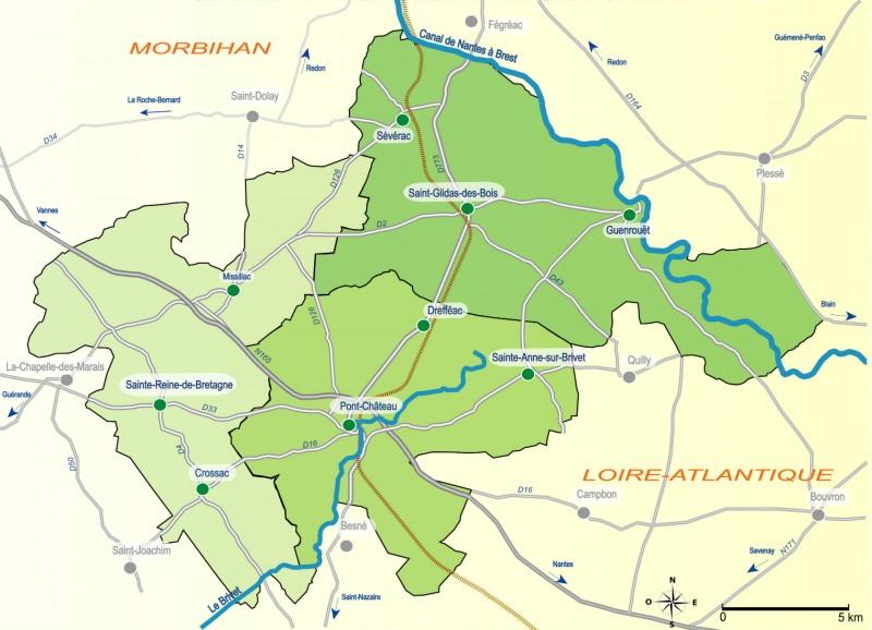 carte entre brière et canal